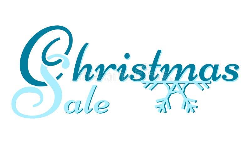 圣诞节销售-在雪花的蓝色说明 库存例证