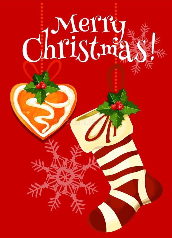 圣诞节长袜和姜饼假日卡片 库存例证