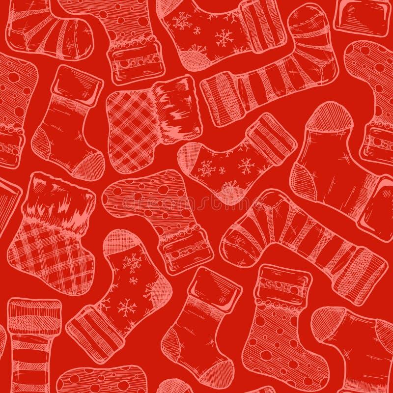 圣诞节长袜样式 库存例证