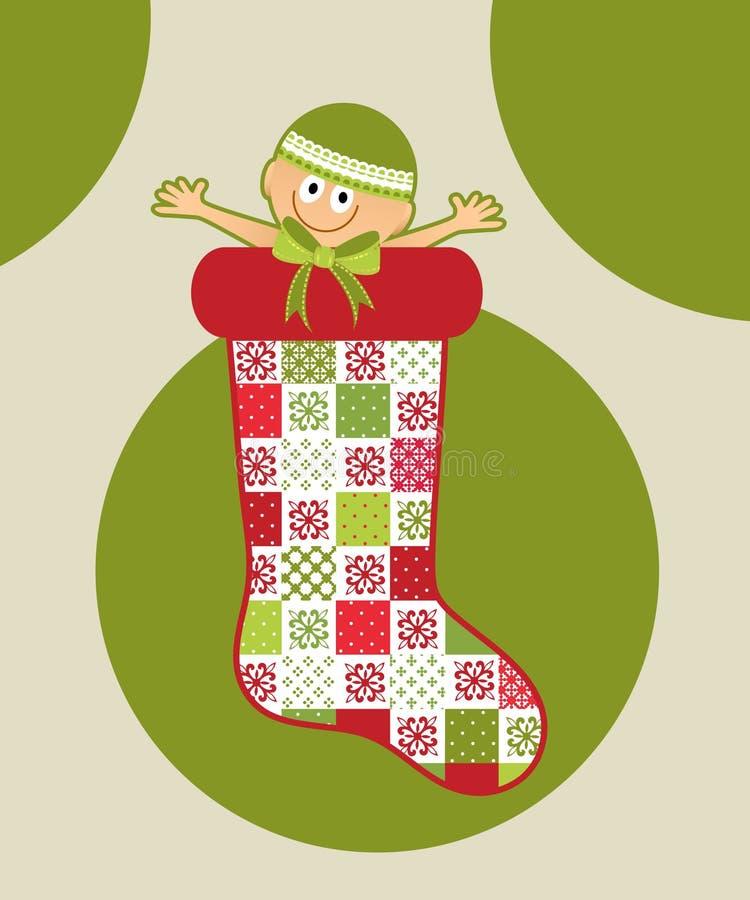 圣诞节长袜的婴孩 向量例证