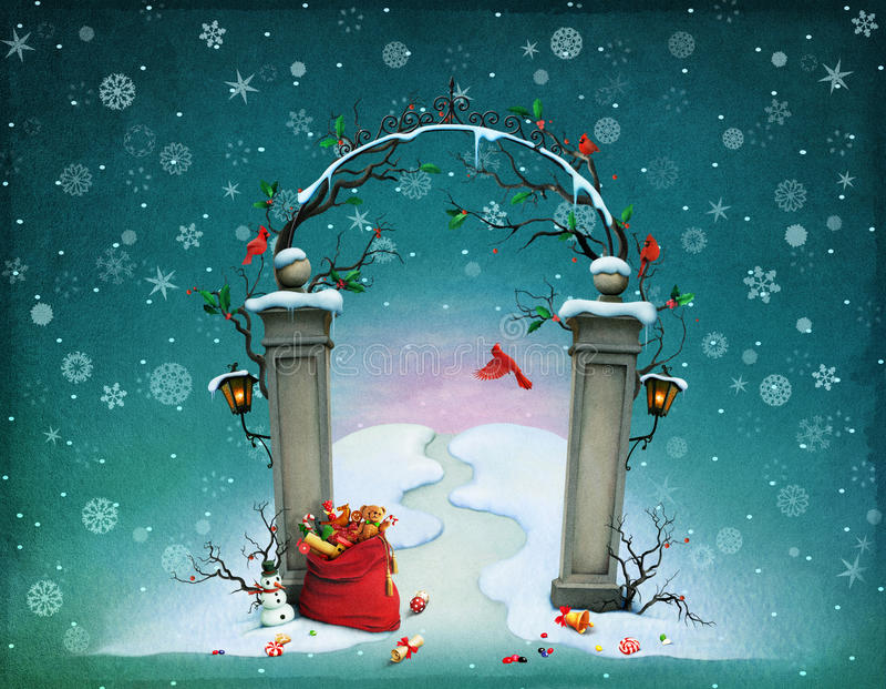 圣诞节门 库存例证