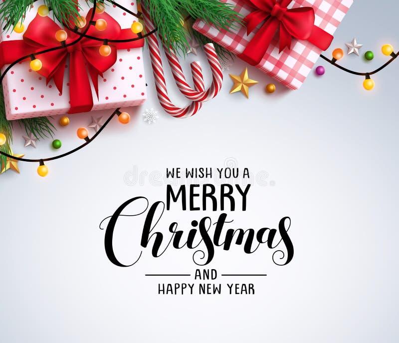 圣诞节问候与文本和五颜六色的圣诞节元素的传染媒介背景 向量例证