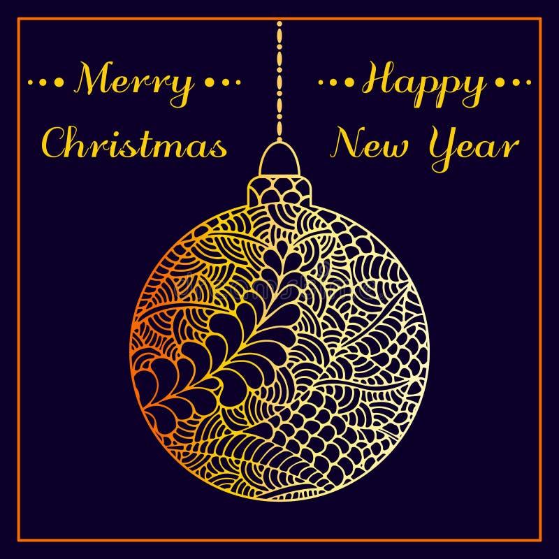 圣诞节问候传染媒介卡片 抽象手拉的金黄发光的圣诞节球 乱画样式 圣诞节愉快快活新 皇族释放例证