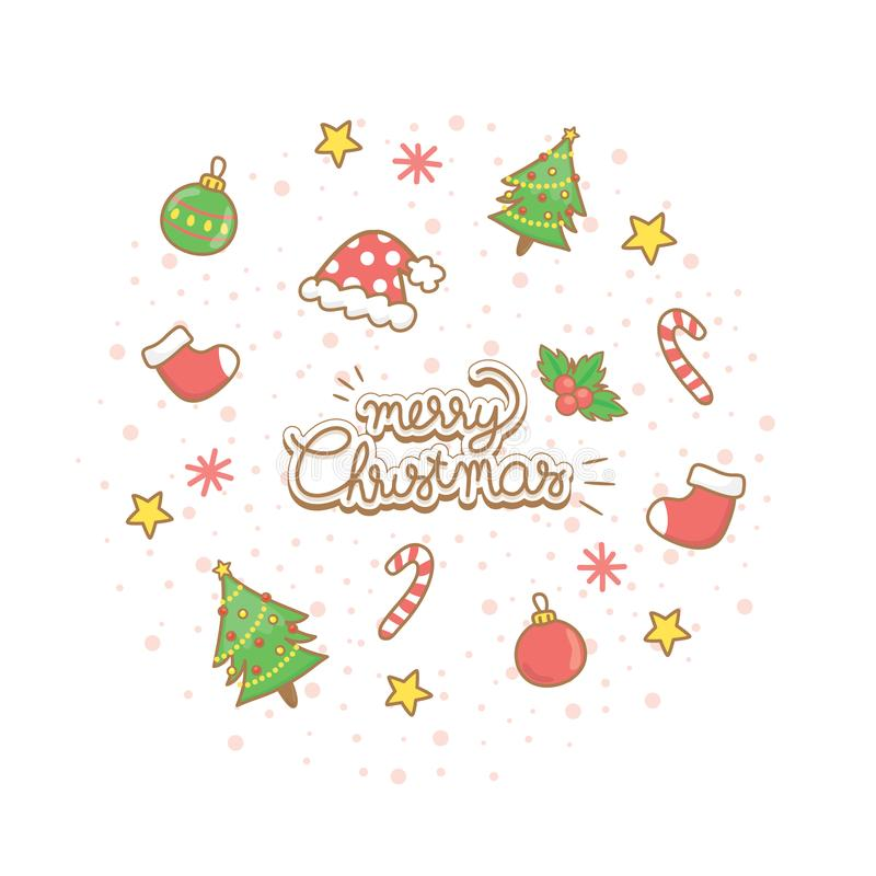 圣诞节问候设置与装饰 免版税库存照片