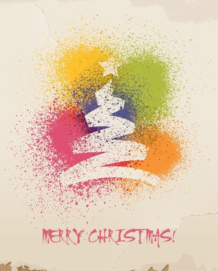 圣诞节问候,在墙壁上绘的,浪花。 向量例证