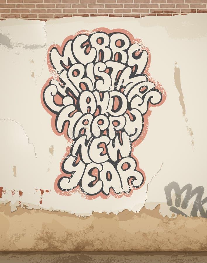 圣诞节问候,在老墙壁上绘的,浪花。 库存例证