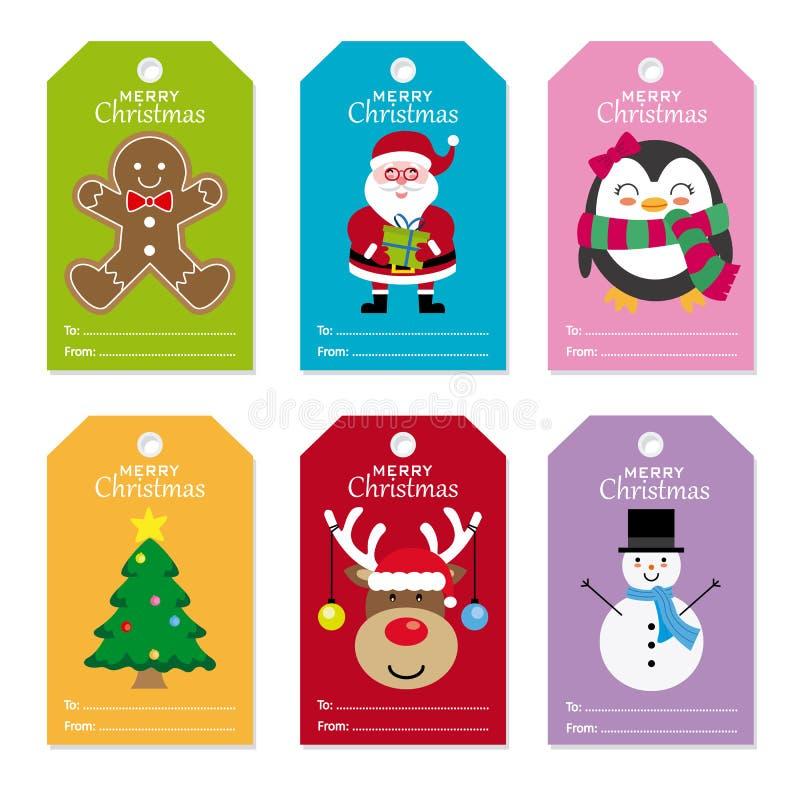 圣诞节集合标签 库存例证