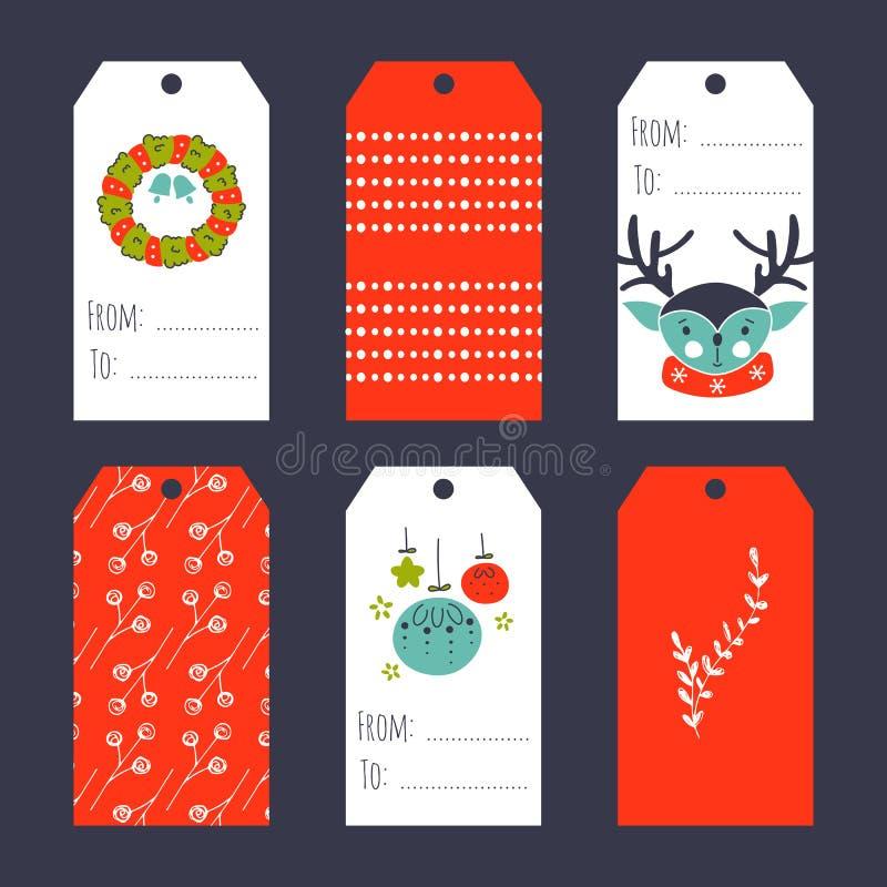 圣诞节集合标签 向量例证