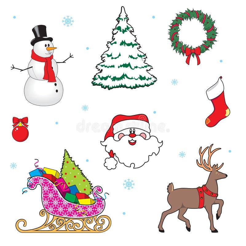 圣诞节集合符号 鹿,圣诞树,雪人,圣诞老人,礼物 外籍动画片猫逃脱例证屋顶向量 向量例证