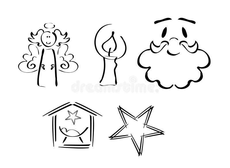 圣诞节集合符号 皇族释放例证