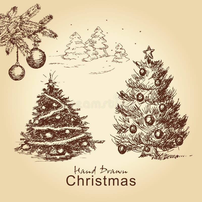 圣诞节集合葡萄酒 向量例证