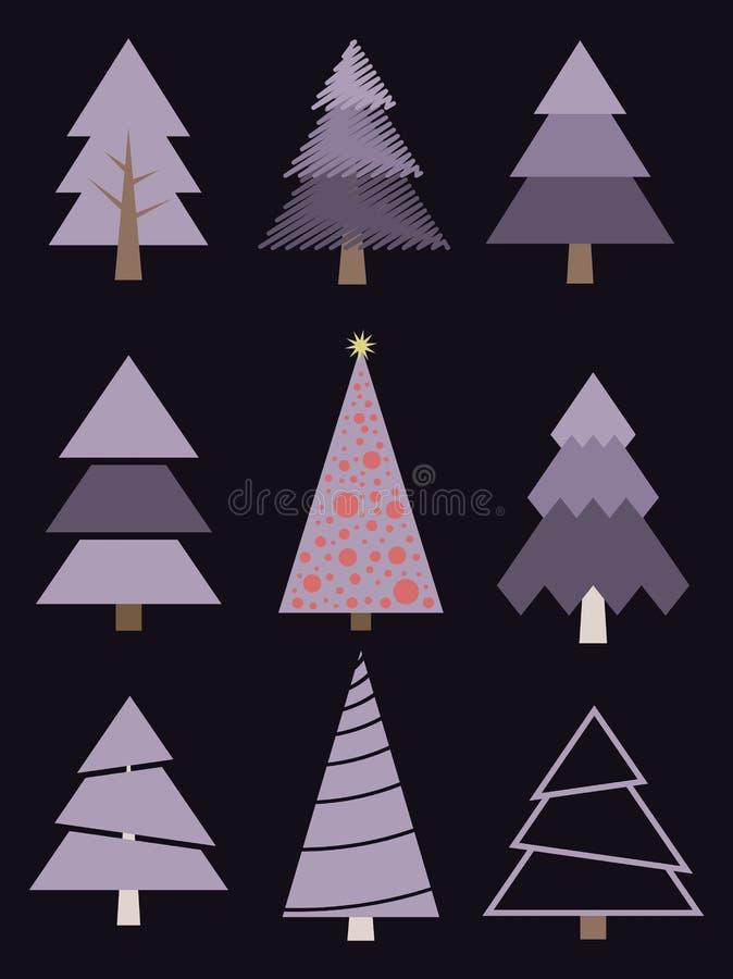圣诞节集合风格化结构树 传染媒介汇集冷杉 图库摄影