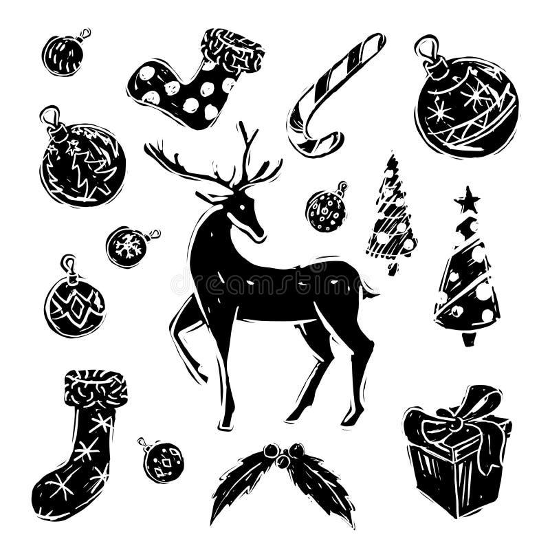 圣诞节集合黑白 皇族释放例证