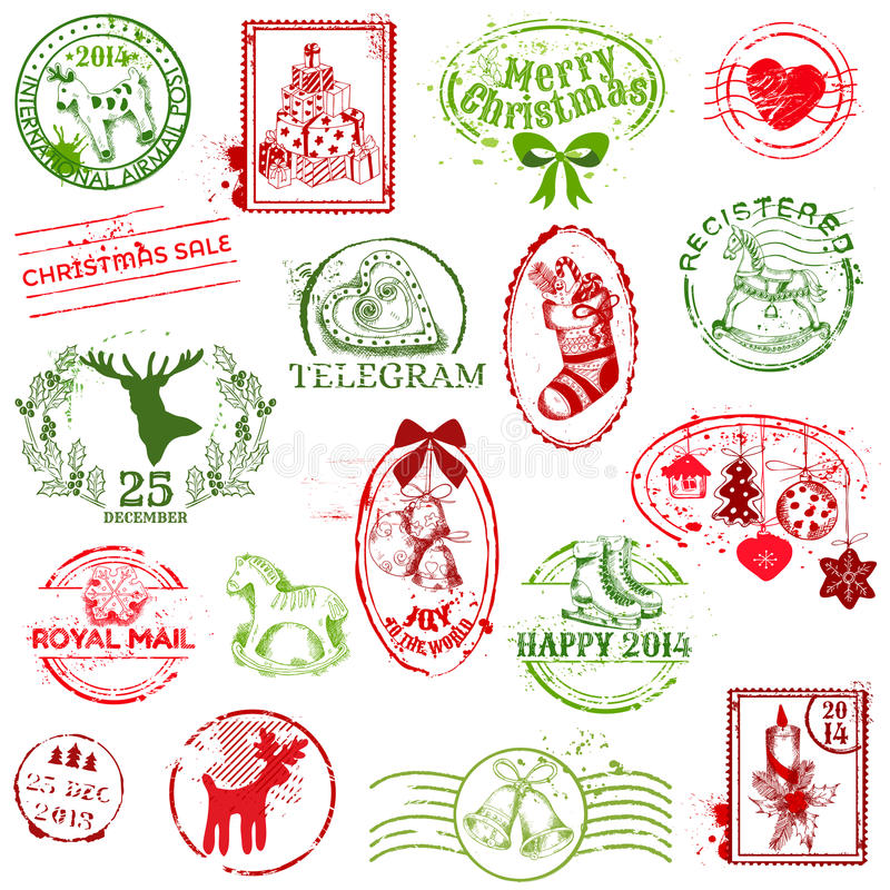 圣诞节集邮 库存例证