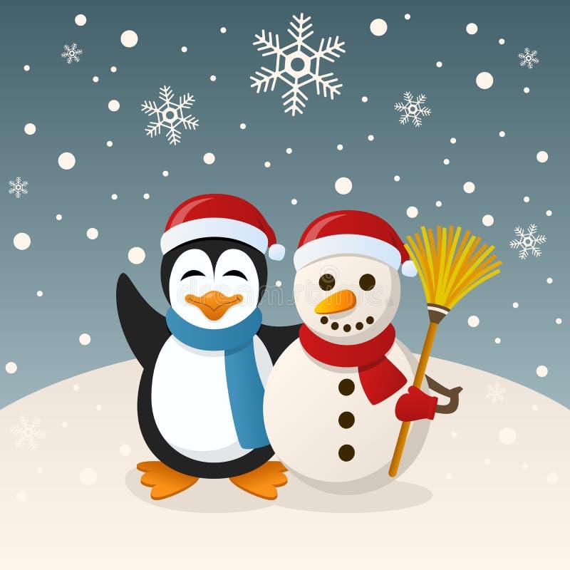 圣诞节雪人和企鹅 向量例证