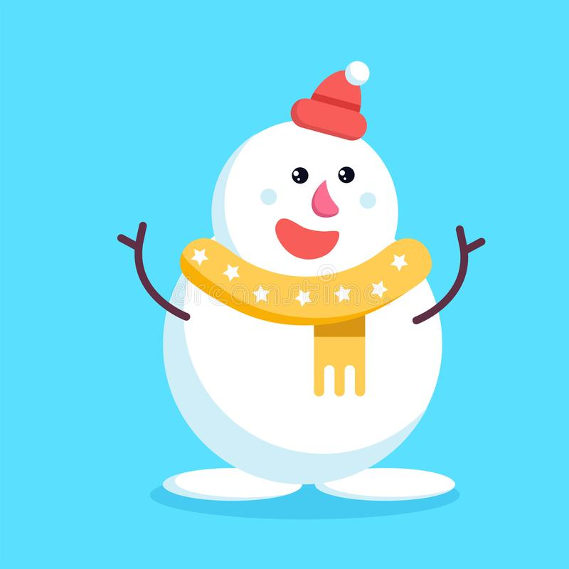 圣诞节雪人挥动的棍子手和微笑 逗人喜爱快乐 库存例证