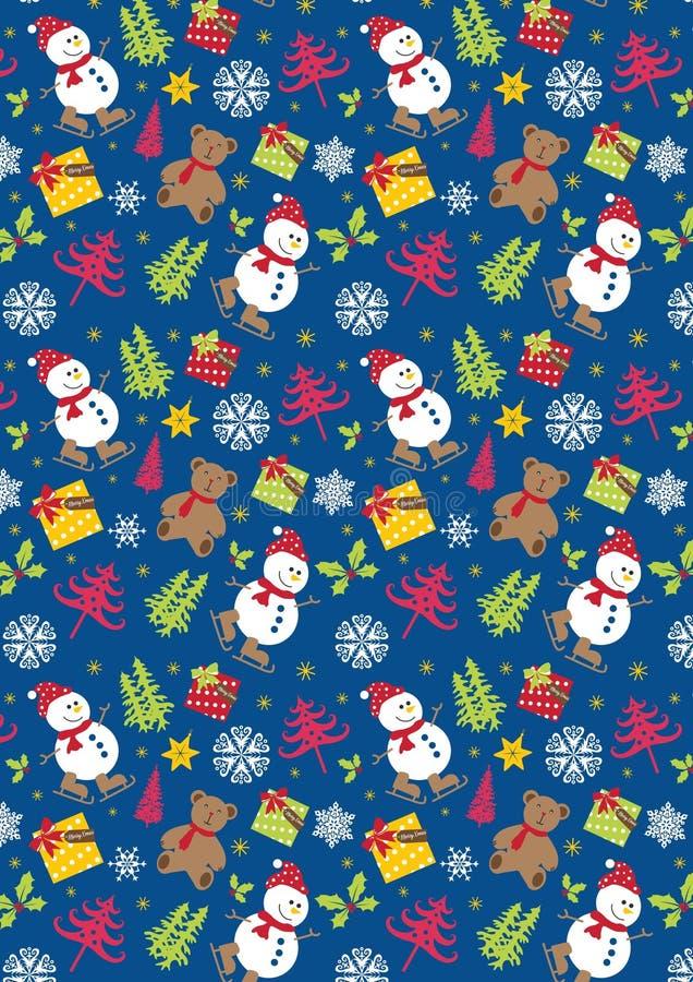 圣诞节雪人,熊雪花在蓝色背景中 皇族释放例证