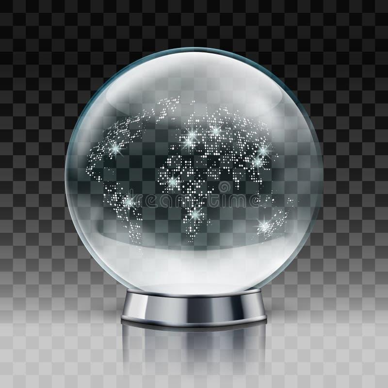 圣诞节雪地球 与里面雪的透明圣诞节球 皇族释放例证