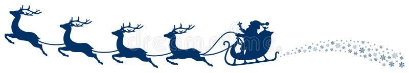 圣诞节雪橇圣诞老人和飞行的驯鹿打旋深蓝 库存例证