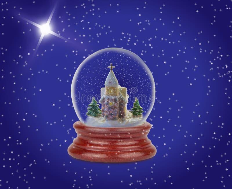 圣诞节雪球 在伯利恒星和夜降雪的背景的玻璃球 免版税库存图片
