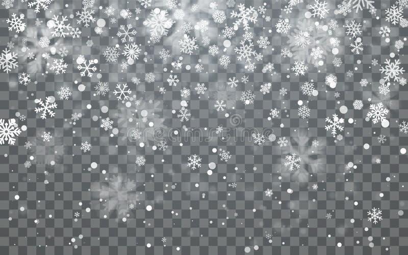 圣诞节雪 在黑暗的背景的落的雪花 降雪 也corel凹道例证向量 皇族释放例证