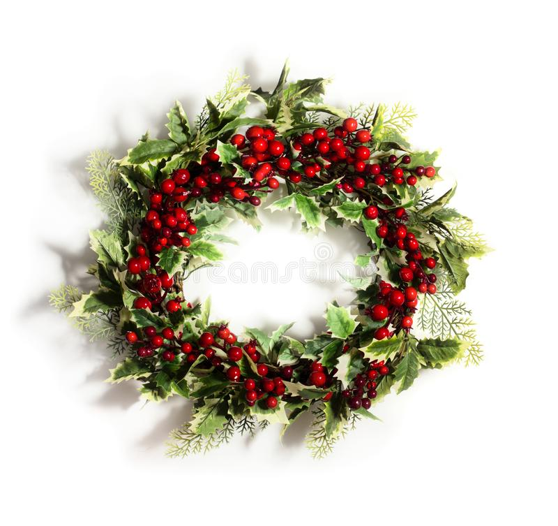 圣诞节霍莉例证向量花圈 免版税库存照片