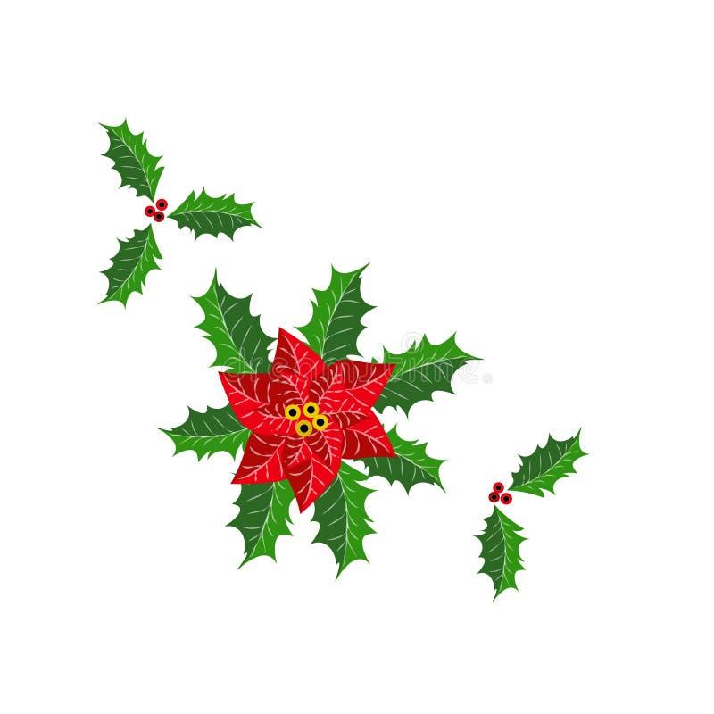 圣诞节霍莉叶子和花 免版税库存图片