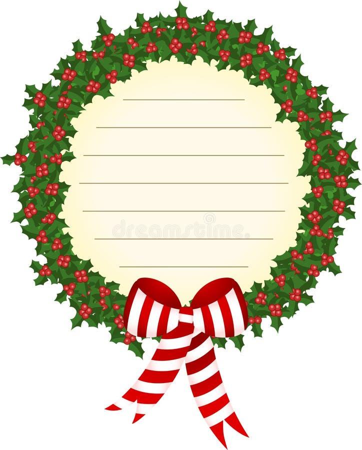 圣诞节霍莉花圈标签 向量例证