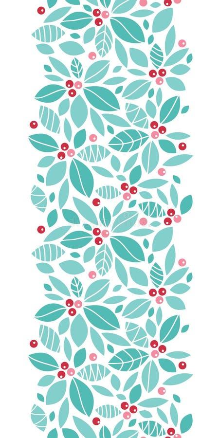 圣诞节霍莉莓果垂直的无缝的样式 库存例证