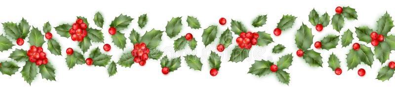 从圣诞节霍莉莓果的无缝的边界 EPS 10向量 库存例证