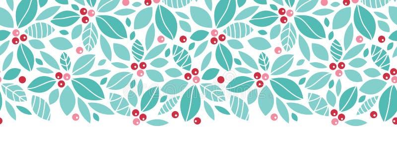 圣诞节霍莉莓果水平无缝 库存例证
