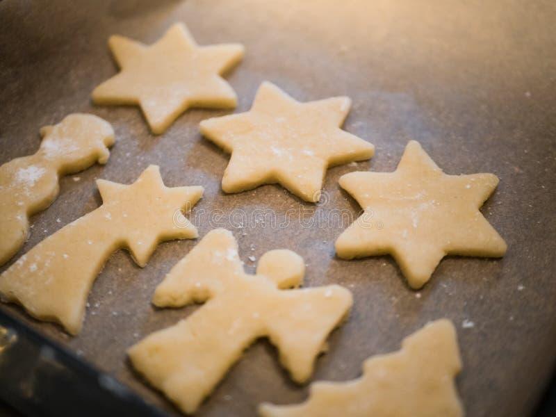 圣诞节面包店:自创曲奇饼特写镜头  图库摄影