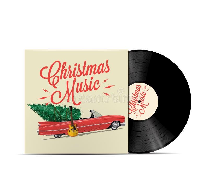 圣诞节音乐播放表盖子艺术 乙烯基圆盘盖子 可实现的向量例证 库存例证