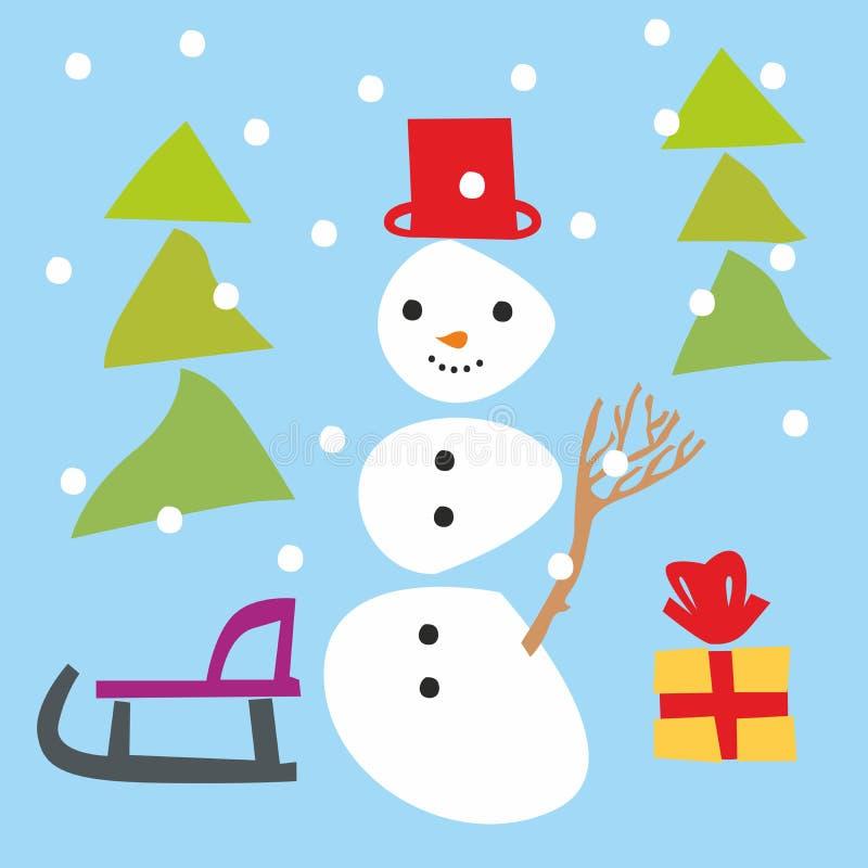 圣诞节项目雪人 向量例证