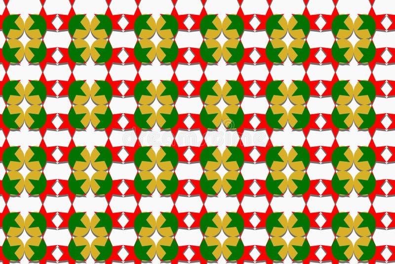 圣诞节题材、星的无缝的样式和在红色,绿色和金子颜色的圆形与阴影,白色背景,纸艺术 库存例证
