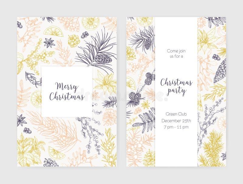 圣诞节飞行物、卡片或者党用季节性植物装饰的邀请模板的汇集画与等高 向量例证