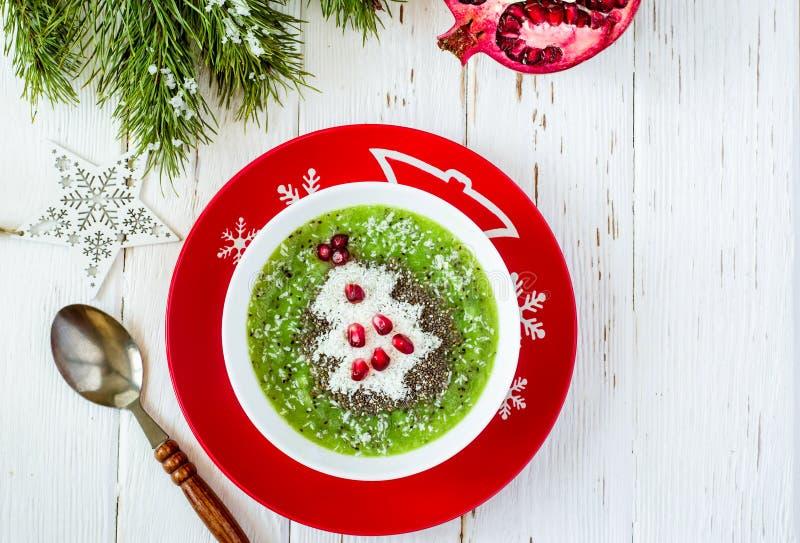圣诞节食物健康想法 用圣诞树装饰的绿色圆滑的人 免版税库存照片