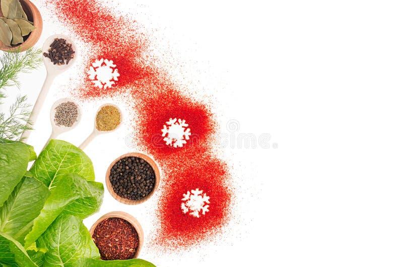 圣诞节食物-香料、新在白色背景隔绝的绿色和红色雪花,顶视图 免版税库存图片