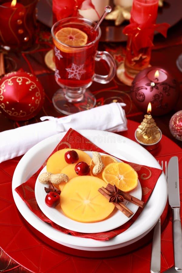 圣诞节餐位餐具 免版税库存图片