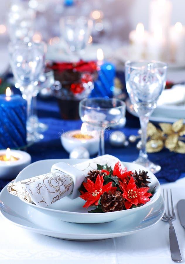 圣诞节餐位餐具 免版税图库摄影