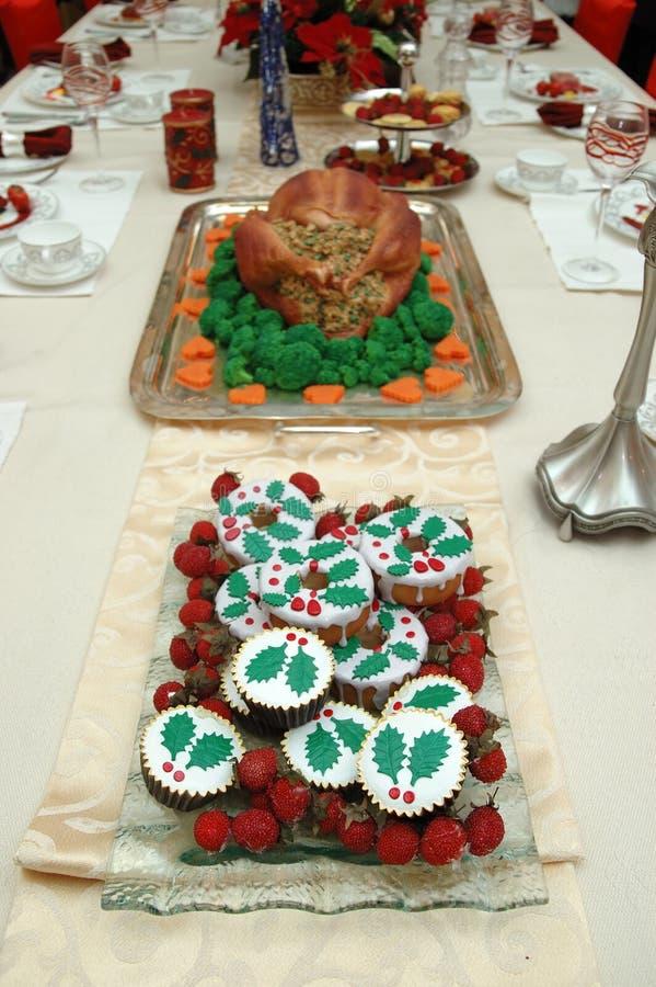 圣诞节餐具 免版税库存照片