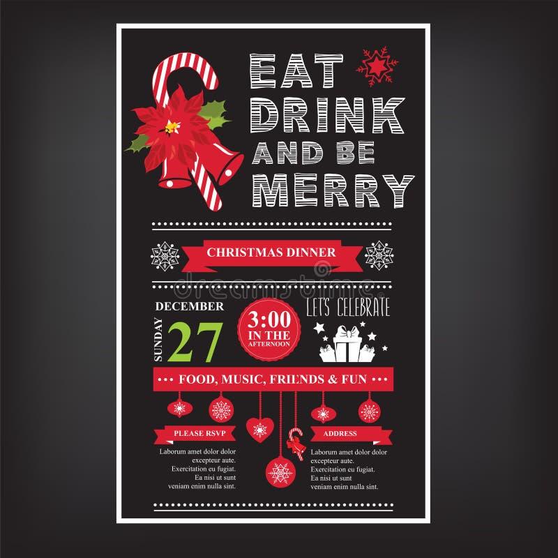 圣诞节餐馆和党菜单,邀请 库存例证