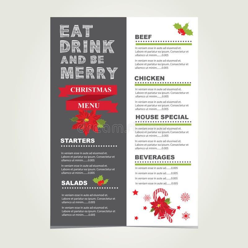 圣诞节餐馆和党菜单,邀请 向量例证