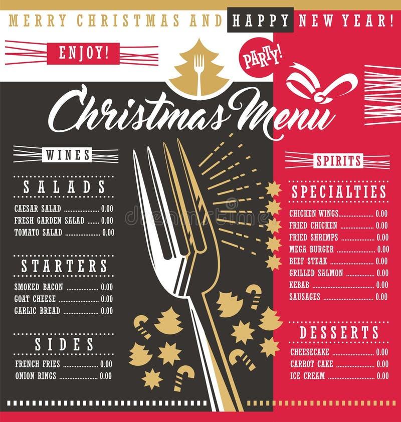圣诞节餐馆菜单模板 向量例证
