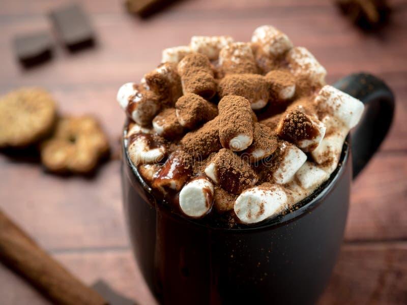 圣诞节饮料热巧克力用蛋白软糖和肉桂条,曲奇饼 圣诞节冬天概念 关闭 免版税库存照片