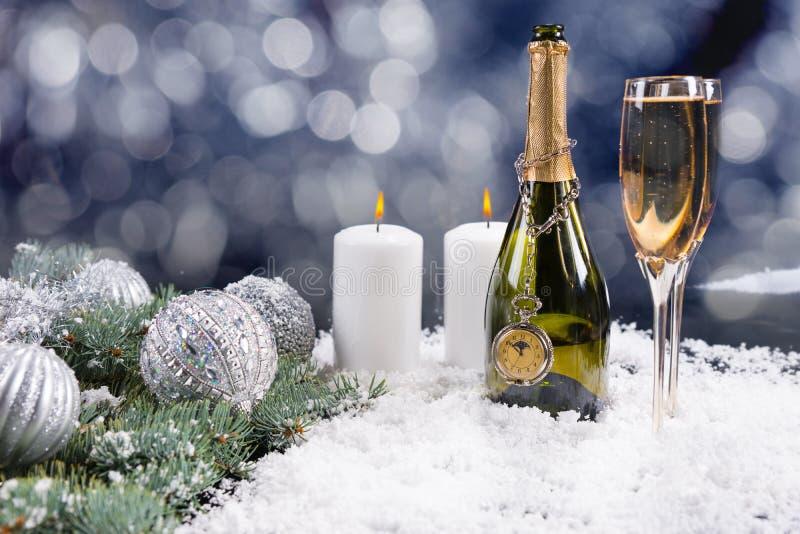 圣诞节香槟庆祝 库存照片