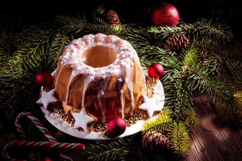 圣诞节马德拉岛蛋糕 免版税库存图片