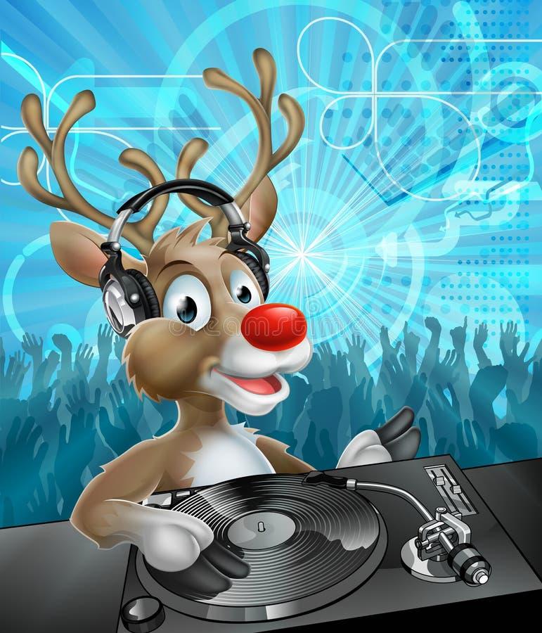 圣诞节驯鹿党DJ 向量例证