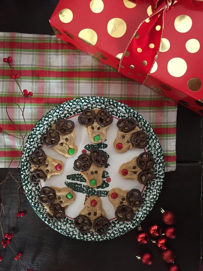 圣诞节驯鹿曲奇饼 免版税库存照片