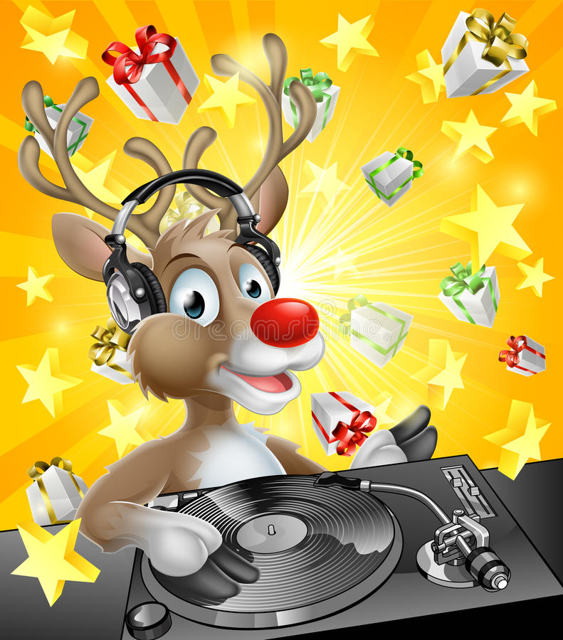 圣诞节驯鹿DJ 库存例证
